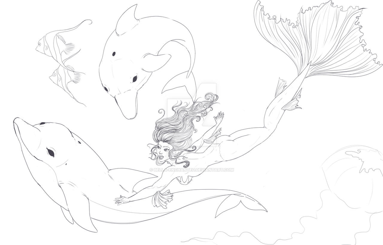 Dolphin Swimming Sketch Dolphin Swim Wip Sketch by