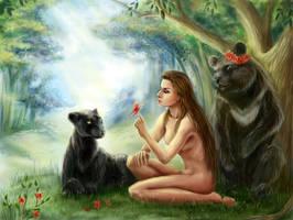 Gender-bender Mowgli by AksaArt