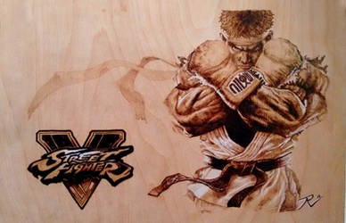 Ryu Street Fighter V Wood Burning Pyrography