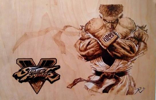 Ryu Street Fighter V Wood Burning Pyrography