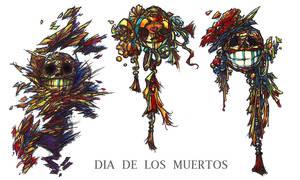 CHEERFUL DEAD HEADS by QuinteroART