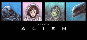 POST IT ALIEN by QuinteroART