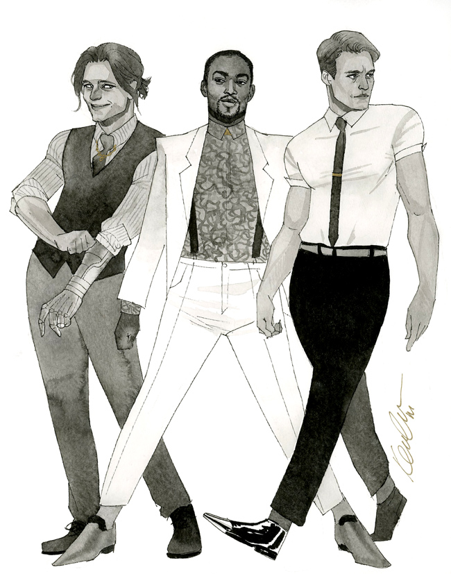MCU Bucky, Sam, and Steve - HeroesCon 2014 sketch by kevinwada