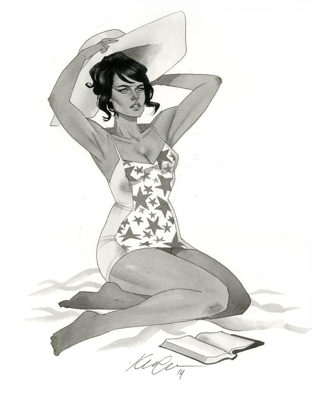 60s Wonder Woman - HeroesCon 2014 sketch by kevinwada