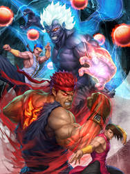 Oni Akuma and Evil Ryu by Artgerm