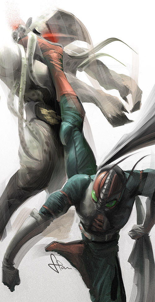 Rider High Kick by Artgerm