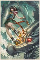 Nazha VS Sea Dragon by Artgerm