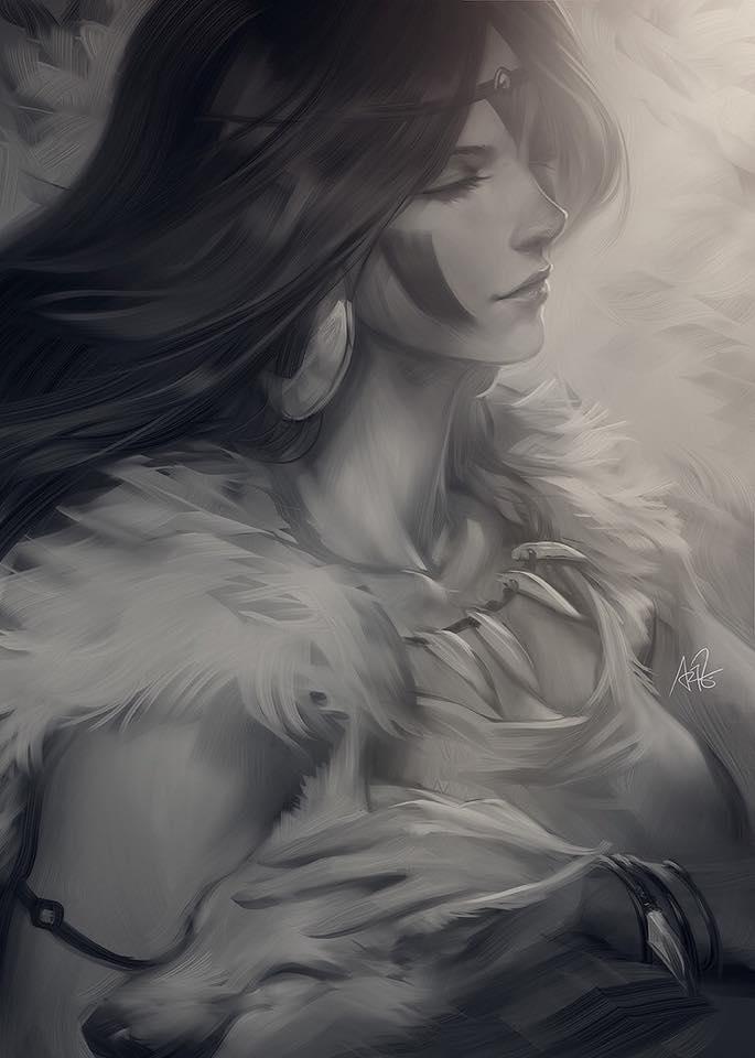 Mononoke sketch by Artgerm