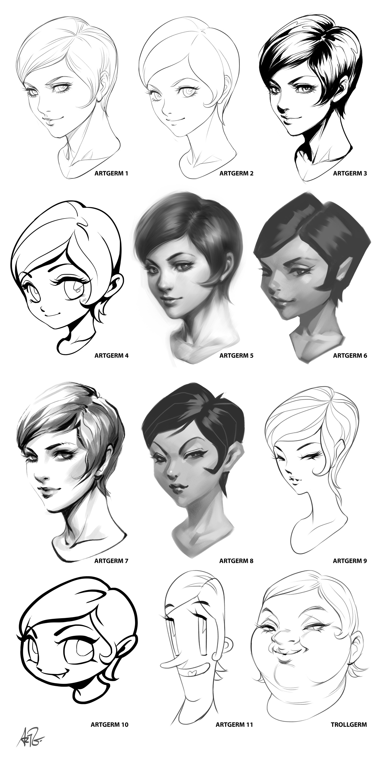 Scribble Drawing Style : Artgerm style challenge by on deviantart