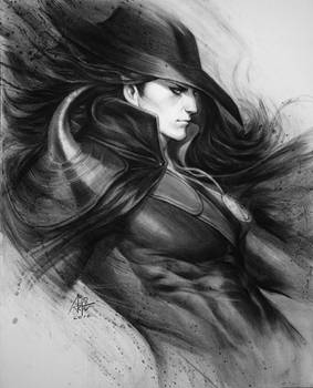 Vampire Hunter D Charcoal Drawing