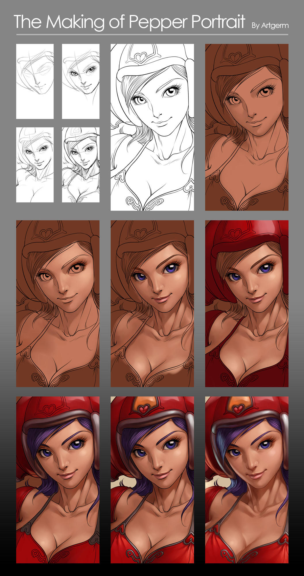 Pepper Portrait - Process by Artgerm