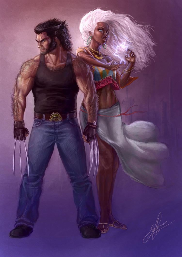 Storm and Wolverine by craniumj