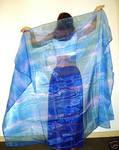 Ameynra bellydance fashion blue organza veil
