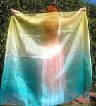 Ameynra bellydance fashion yellow green veil