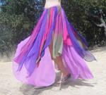Ameynra bellydance chiffon skirt fischia purple