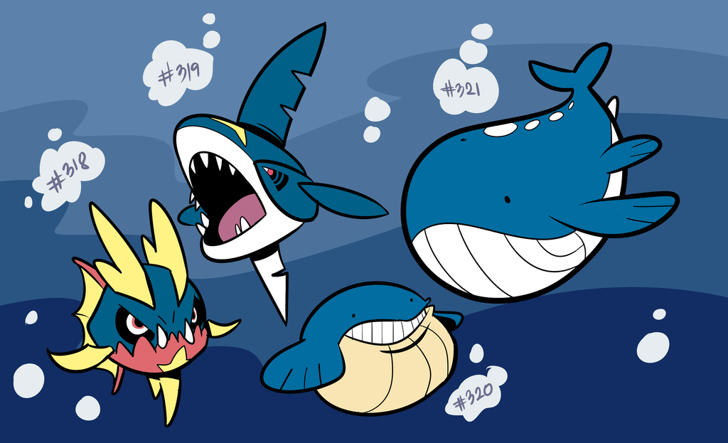 Carvanha, Sharpedo, Wailmer, Wailord by RoastedStix on ... Wailmer Wallpaper