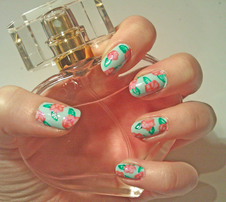 Pretty Floral Nail Art by KaleidoscopeEyes97
