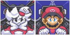 Mario and Kiylo in Starfox2