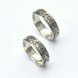 Sterling Silver Oak Leaf Wedding Bands by Eire-handmade