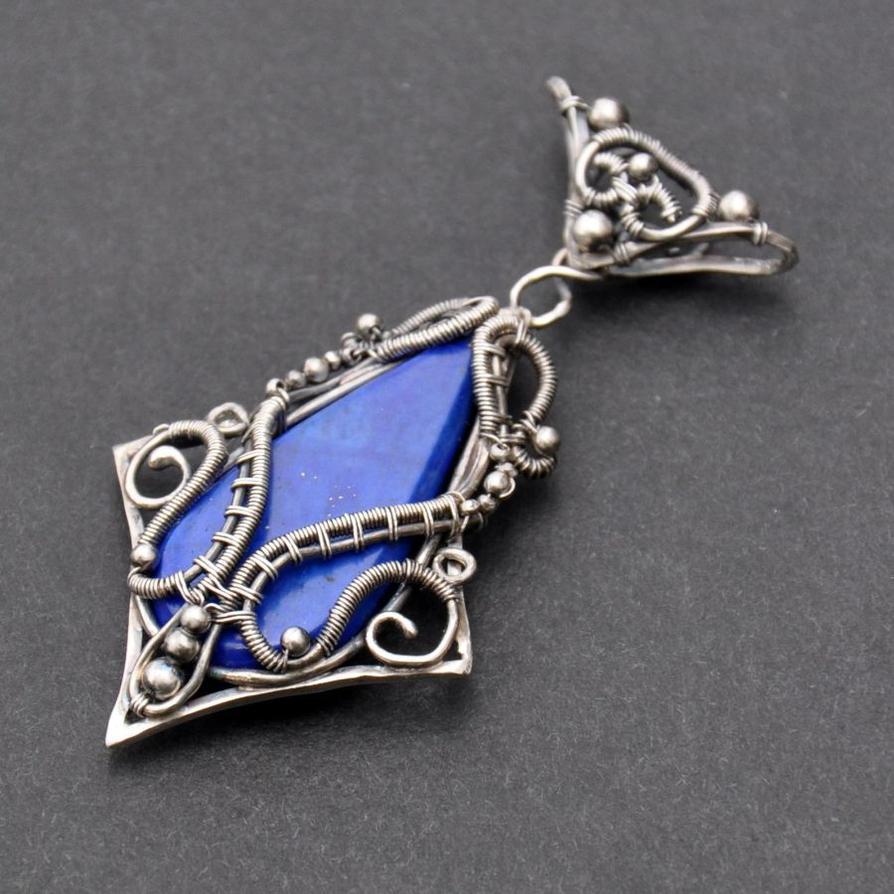 Morwen fantasy wire wrapped lapis lazuli pendant by eire handmade aloadofball Images