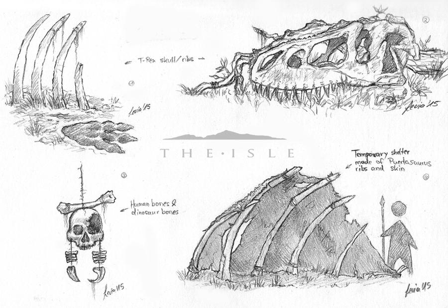 The Isle - Props, Temporary shelter sketch by LeviaDraconia