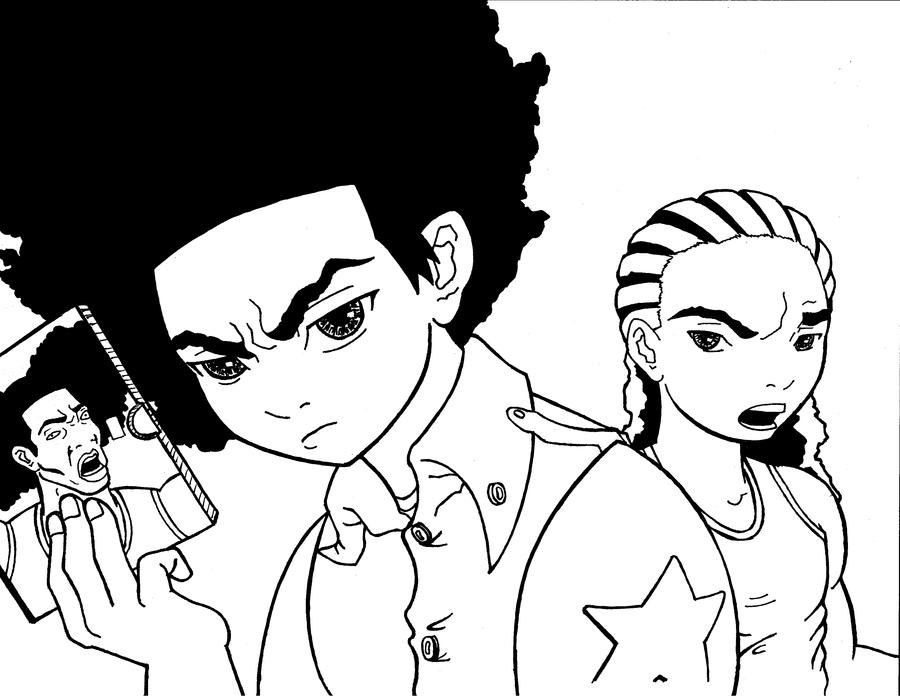 The Boondocks Inks By Mrcynic On Deviantart Boondocks Coloring Pages