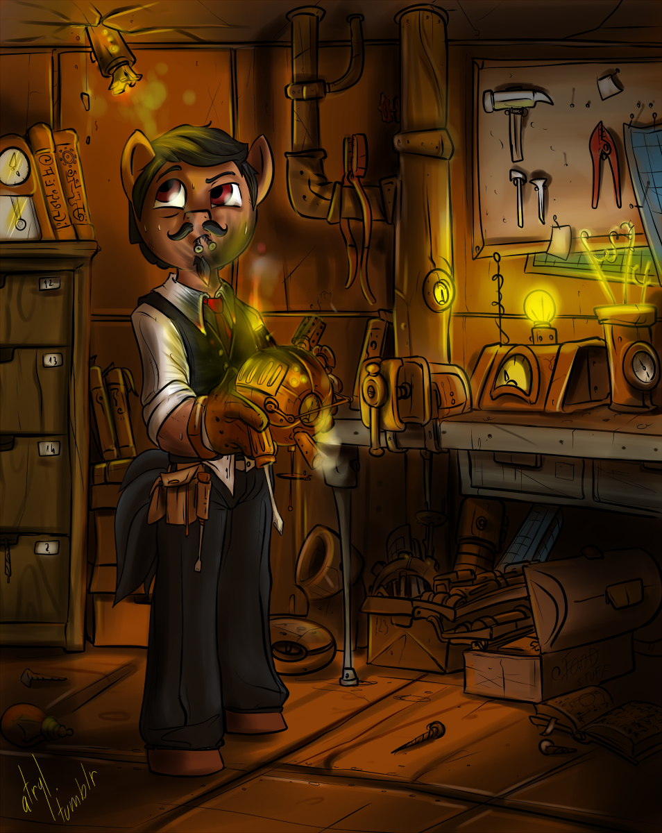 Commission - Rusty Gears: Victorian Inventor by atryl