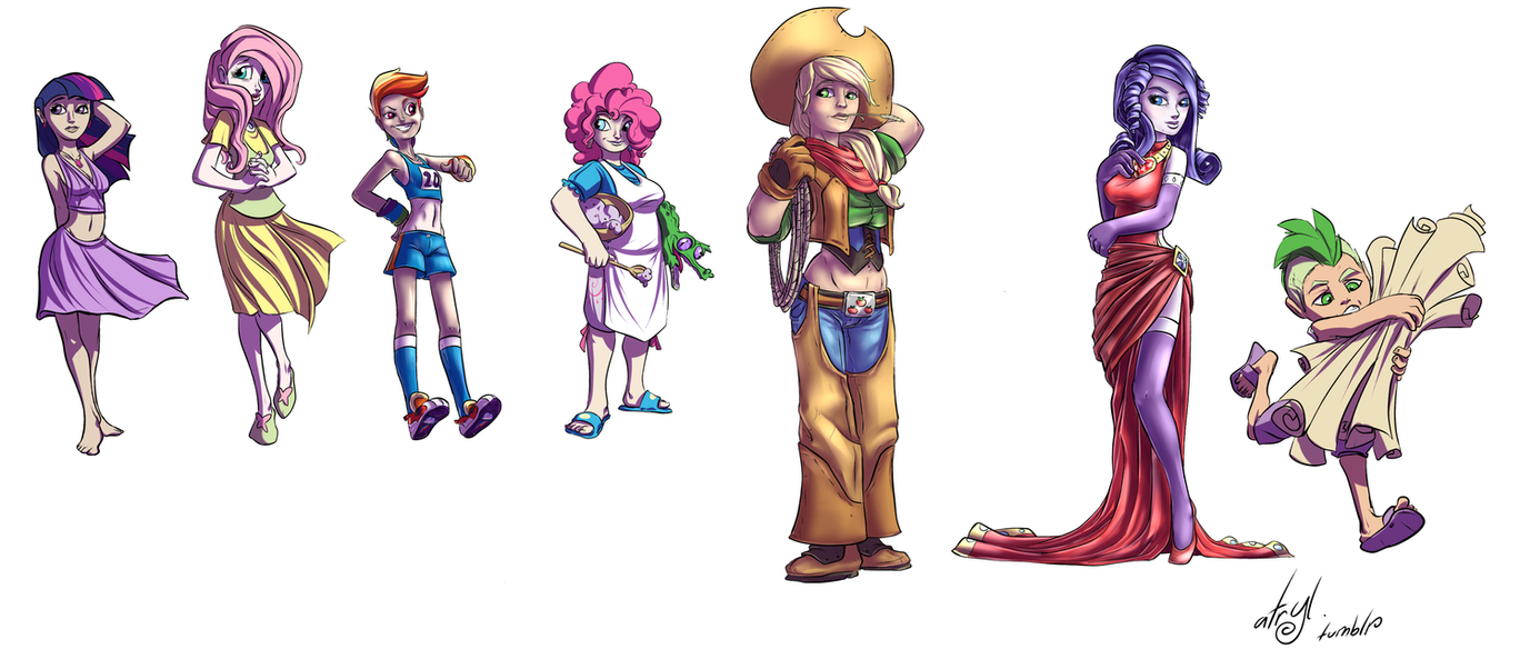 Humanized Mane Six and Spike by atryl