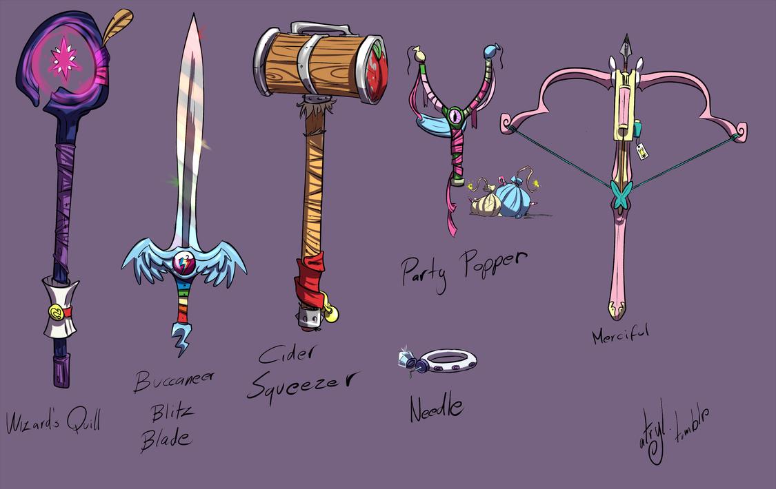 Mane Six Weapons by atryl