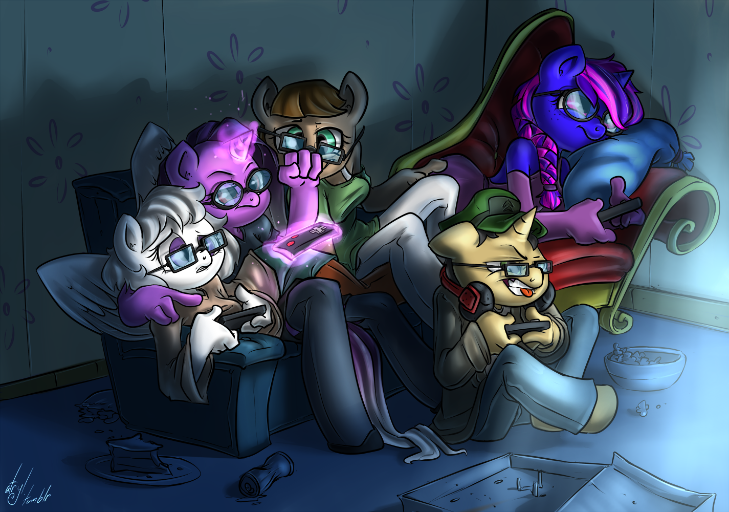 Commission - Game Night by atryl