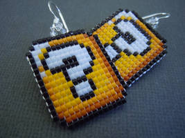 Question Mark Block Seed Bead Earrings by Pixelosis