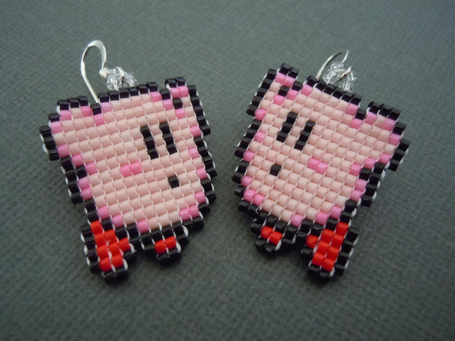 Kirby Pixel Earrings by Pixelosis