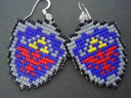 Woven Seed Bead Hylian Shield Earrings by Pixelosis