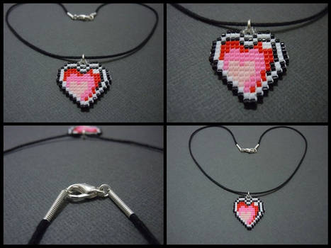 Hand Woven Seed Bead Heart Necklace