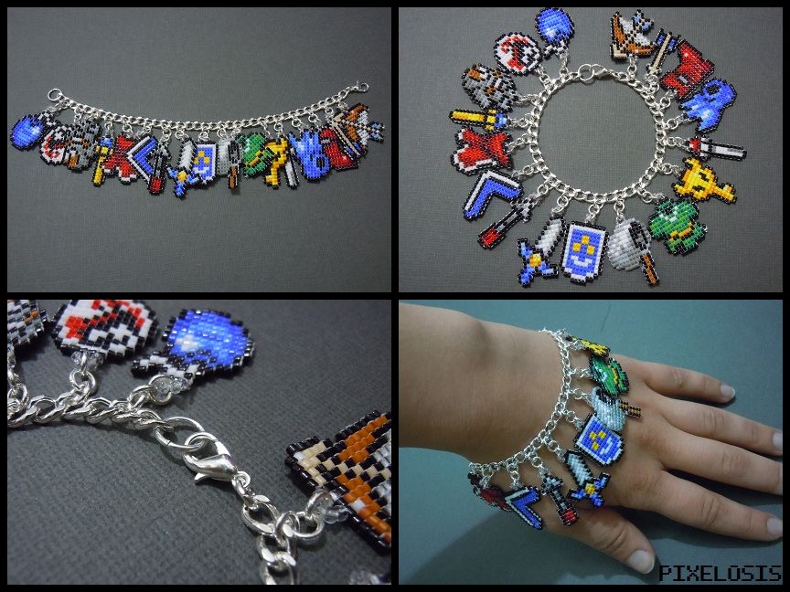 Legend of Zelda Seed Bead Charm Bracelet 1 by Pixelosis