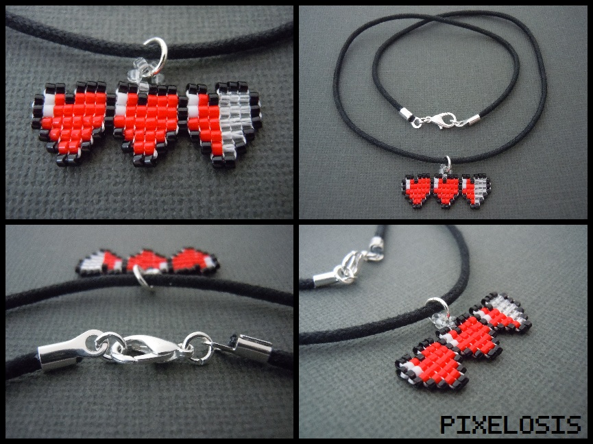 Handmade seed bead heart container necklace by pixelosis on deviantart