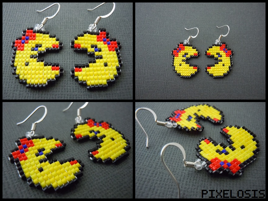 Handmade Seed Bead Mrs. Pacman Earrings by Pixelosis