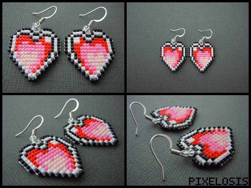 Handmade seed bead heart container earrings by pixelosis on deviantart