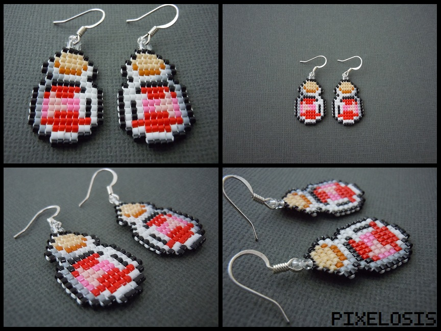 Handmade Seed Bead Red Bottled Potion Earrings by Pixelosis