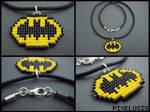 Handmade Seed Bead Batman Symbol Necklace