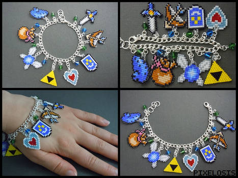 Legend of Zelda Charm Bracelet 4 by Pixelosis