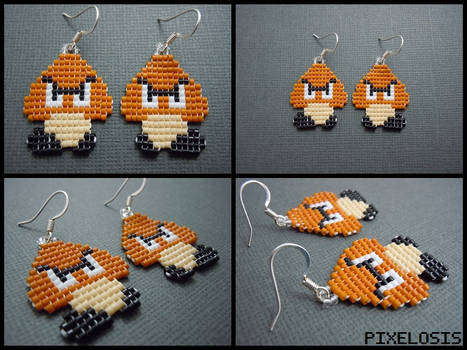 Handmade Seed Bead Goomba Earrings