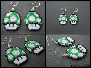 Green Mushroom Earrings