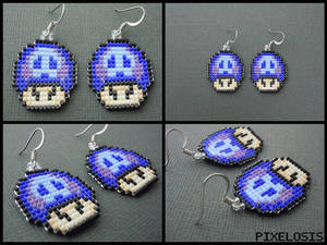 Tri Colored Poison Mushroom Earrings