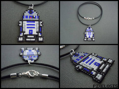 Handmade Seed Bead R2D2 Necklace