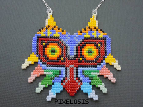 Handmade Seed Bead Majora's Mask Necklace