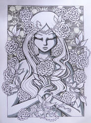 Inktober day 25: rose maiden by GlauxBryonia