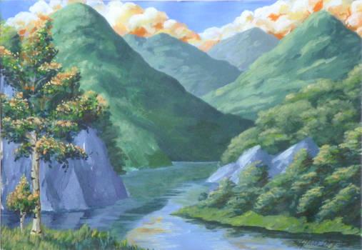 mountain lake landscape by GlauxBryonia