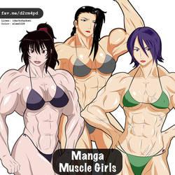 Manga Muscle Girl Trio 1 by elee0228