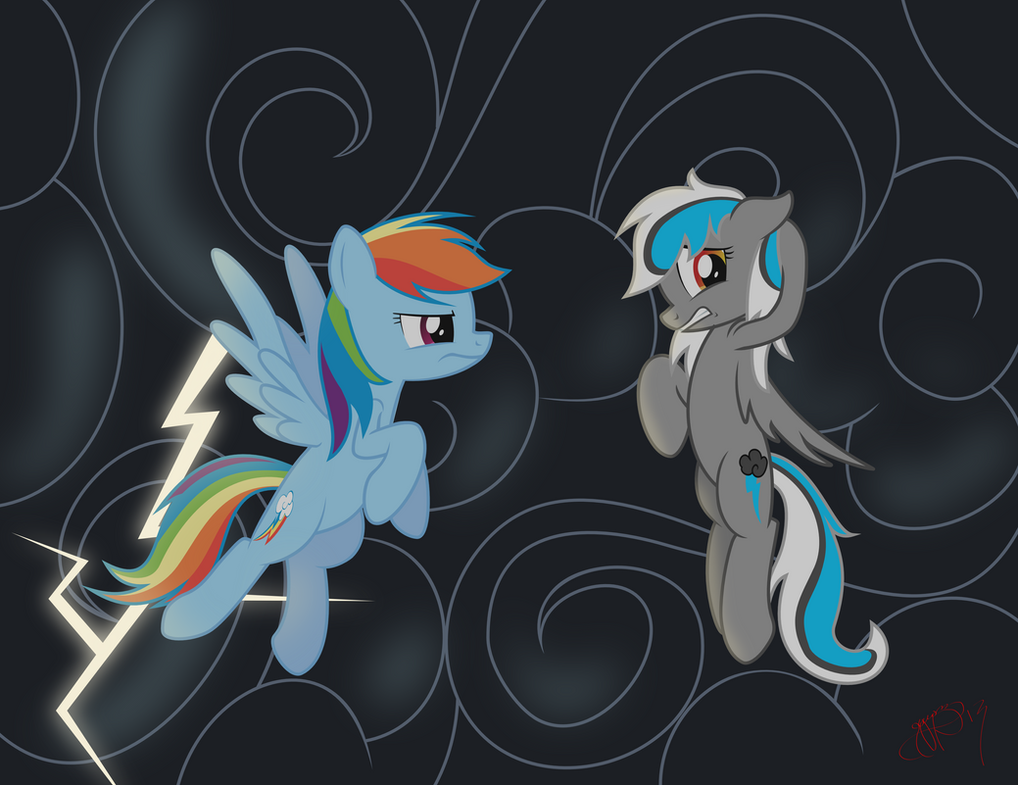 COMMISSION - Rainbow Dash and Maelstrom Bolt by Brisineo
